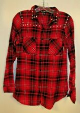 Derek Heart Red Plaid Collard Blouse Flannel Shirt w/ Studs Size Small S