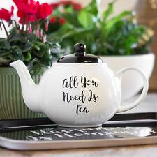 Traditional White Ceramic Carnaby Script Teapot Loose Leaf Infuser Tea Jug Pot