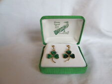 New Vintage Genuine Emerald Paua Shell Green Shamrock Gold Clip On Earrings MIB