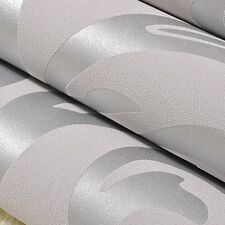 UK 10M Victorian Luxury Embossed Wallpaper Roll Silver Grey Design Wall Stickers