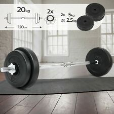 Langhantel Set 20kg Langhantelstange Hantelscheiben Gewichte Fitness Hantel-Set