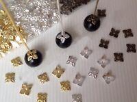 300Pcs Antiqued Silver,Gold,Bronze Tone Tiny-Leaf End Bead Caps 6mm Graft DIY