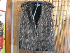 KiKit Gorgeous Faux Silver Fox Fur with Black Knit Back Womens Zip Vest Size Sm!
