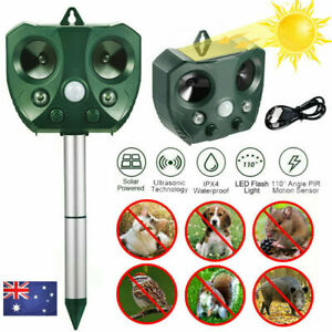 Solar Ultrasonic Animal & Pets Repeller Motion Sensor Bird Rat Possum Repellent