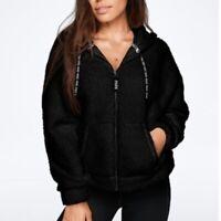 Victoria's Secret Pink L Jacket Hoodie Black Sherpa Full Zip Boyfriend Relaxed