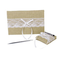 Shabby Chic White Lace Burlap Wedding Guest Book Pen and Heart Basswood Set