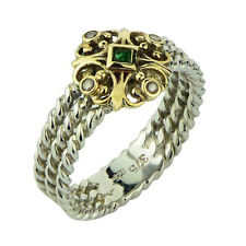 s 9K Gold & 925 Sterling Silver Natural Emerald & Diamond Ring Rope Fleur-de-lis