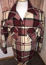 Vintage USA Made Men's Woolrich Wool Coat Jacket Flannel Sz L Red Plaid Tartan