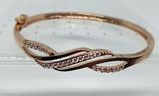 Jon Richard Rose Gold Plated Crystal Cross Over Swirl Classic Bangle Rrp £15