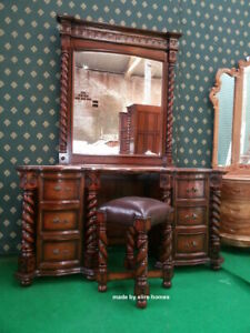 Twist column Tudor Style dressing table mirror and stool carved from mahogany