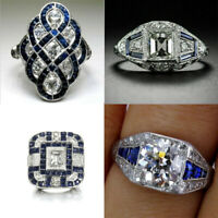 Charm Noble Silver White Topaz & Blue Sapphire Ring Wedding Bridal Women Jewelry
