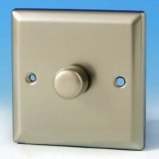 Varilight 1 Gang 1 or 2 Way 400W Push on/off Dimmer Light Switch Satin Chrome