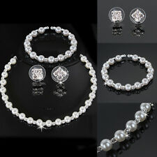 Bridesmaid Crystal Pearl Necklace Earrings Set Wedding Bridal Jewelry Jewellery