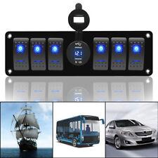 6 GANG Rocker Switch Panel Circuit Breaker LED Voltmeter RV Car Marine Boat 12V