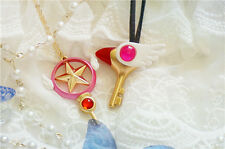 Anime Cosplay Card Captor Sakura Kinomoto Sealing Wand Key Charm Girl Necklace