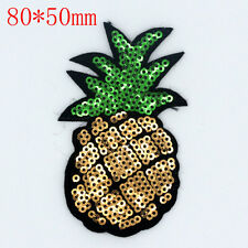 Pineapple Sequin Design Embroidered Cloth Iron On Patches Sewing Motif Appliques