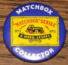 MATCHBOX COLLECTOR LESNEY SERIES 1 VINTAGE ORIGINAL 1960s METAL TIN PIN BADGE