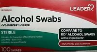 Leader Alcohol Swabs Sterile 70 Percent Isopropyl Alcohol 100 count, 4 Pack