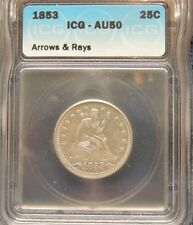 1853 Arrows&Rays ICG AU50 Seated Liberty Quarter~RARE 1 Year Type Coin WOLESALE