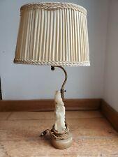 Lampe vintage - Pierre dure / Albâtre - Pied sculpté, GEISHA tenue Asiatique