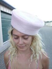 Antique 1950s Pink Woven Nylon Pillbox Hat Small/Medium