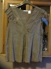 Soft Grey silver and gold silk sleeveless top UK 12