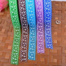 Flower Printed Sheer Organza Ribbon 25mm Wide Embroidered Trim Party Sewing Bows