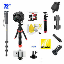 "72"" Monopod + IR Remote Control + 12"" CARBON FIBER FLEXIBLE TRIPOD FOR NIKON"