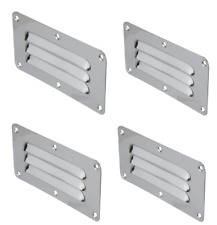 4 x  Stainless Steel Rectangular Louvre Air Vent, Caravan, Boat, Wall Eave