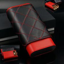 Red Black Leather Adjustable Cedar Wood 3 to 5 Ct Cigar Case Holder Humidor