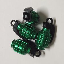 4 x Green Grenade Bomb Exterior Wheel Tyre Tire Valve Stems Air Dust Cover Caps