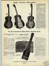 1939 PAPER AD Dixon Guitar Steel Reinforced Neck Hanco Dobro Electric Hawaiian
