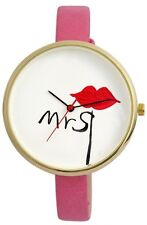 "Femme montre à quartz blanc rose noir rouge or ""mme"" kiss lips G-60463615227500"