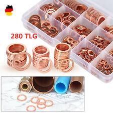 280PC Kupferringe Dichtring Sortiment Set Kupfer Dichtungen Ölablaßschrauben Box