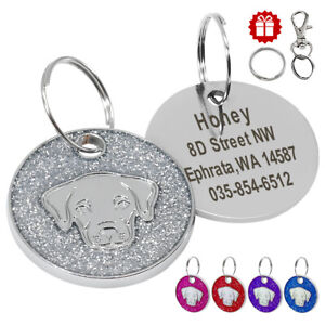 Labrador Pictures Dog Tags for Pets Engraved Personalised Glitter Name ID Tags