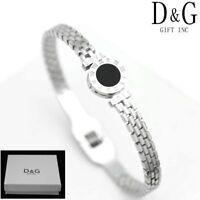 DG Women Silver Stainless Steel Onyx Cuff Bangle Love Roman-Numeral Bracelet*Box