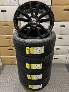 """x4 18"""" GOLF R ALLOY WHEELS BLACK PRETORIA GTI MK5 MK6 MK7 A3 CADDY WHEELS 5x112"""