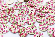 Pink Flower Wooden Button Pink and Green Floral Children Wood Buttons 18mm 20pcs