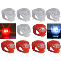 10PC LED Mountain Bicycle Front Rear Lights Push Cycle Light Clip Silicone GS