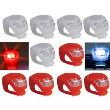 10PCS LED Silicone Mountain Bike Bicycle Front Rear Lights Push Cycle Light Clip
