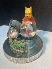 Walt Disney Theme Park Winnie The Pooh Eeyore Piglet Water Snow Globe Vintage