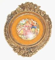 Vtg Boucher Cameo on velvet with ornate gold tone metal frame baroque Romance