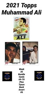 2021 TOPPS MUHAMMAD ALI - CARD #69 AND #70 + TYSON BECK INSERT 6 - 3 CARD BUNDLE