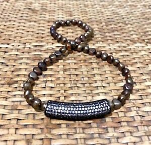 BRONZE PEARLS WITH AUSTRIAN CRYSTAL COVERED TUBE BRACELET