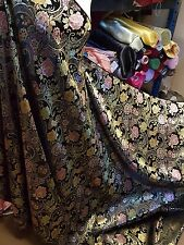 1M black multi coloured  floral Chinese Brocade  Shanghai fabric 45""