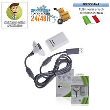 CARICABATTERIE PER JOYPAD JOYSTICK XBOX 360 CON USB CARICABATTERIA 2 IN 1