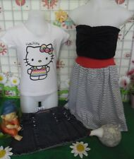 vêtements occasion fille 10 ans,jupe jean,t-shirt HELLO KITTY,robe