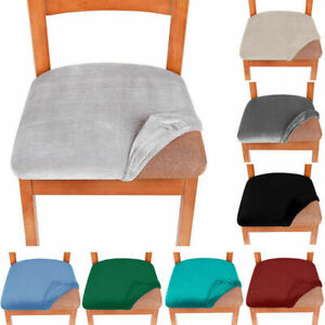 2/4/6X Stretch Velvet Dining Room Cushion Chair Seat Covers Removable Slipcovers