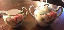Vintage Hand Painted Nippon Sugar Bowl & Creamer Set Floral GREEN ORANGE GOLD