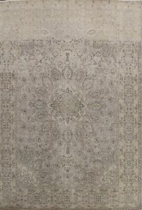 Vintage Traditional Hand-knotted Distressed Area Rug Muted Evenly Low Pile 10x13